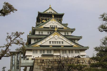 The Osaka castle, a Japanese ancient castle as symbol or landmark in Osaka, Kansai, Japan