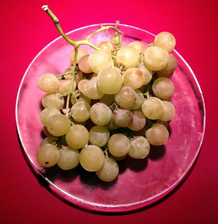 Grapes on a glass plate