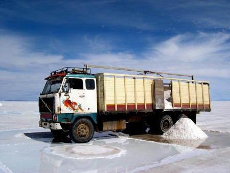 A truck full of salt in Bolivia (with tiger)