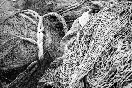 commercial fishing net: Fishnet in the town of Lerici, Liguria Italy Stock Photo
