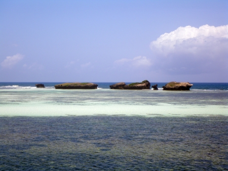 Small islands in front of Watamu beach, Malindi, Kenya Stock Photo
