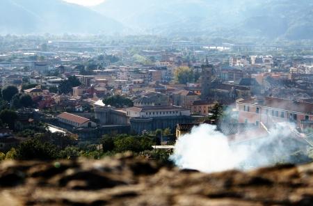 sarzana: Top view of Sarzana with smoke