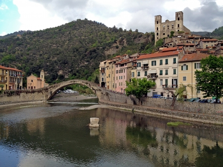 A panoramic view of Dolceacqua town in Liguria, Italy Stock Photo - 16595106