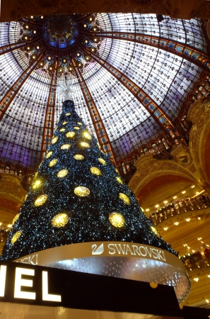 Paris, France - December 8, 2012  Swarovski christmas tree at the famous Galeries Lafayette department store on the Boulevard Haussmann   Stock Photo - 16816659