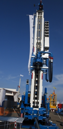 driller: A powerful drilling machine detail Stock Photo