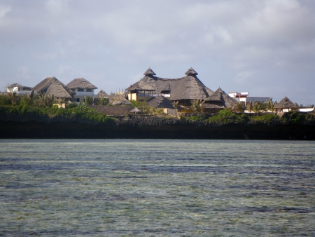 Resort seen from the sea, Watamu, Kenya Stock Photo