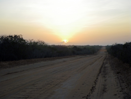 Street in Kenya at the sunrise  photo