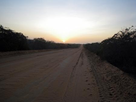 Street in Kenya at the sunrise Stock Photo