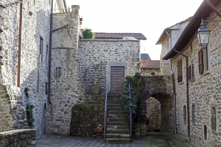 massa: typical homes of Ponticello, a small town in Lunigiana