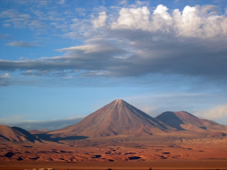 Valle de la Muerte and Licancabur Volcano - San Pedro de Atacama, Chile Stock Photo