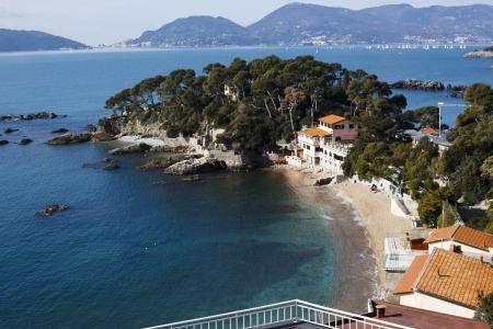 golfo: landscape of golfo dei poeti, Lerici  Fiascherino beach, Italy Stock Photo