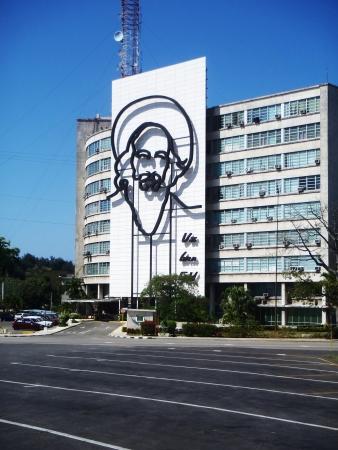 winning location: Havana, Cuba - April 23, 2012: Camilo Cienfuegos face at the plaza de la revolution in Havana, Cuba. Editorial