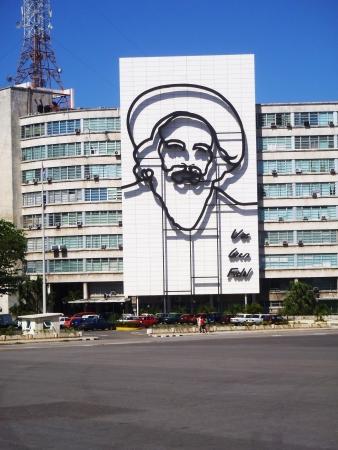 winning location: Havana, Сuba - April 23, 2012  Camilo Cienfuegos face at the plaza de la revolution in Havana, Cuba  Editorial