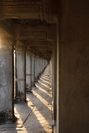 The corridor of Angkor Wat Stock Photo