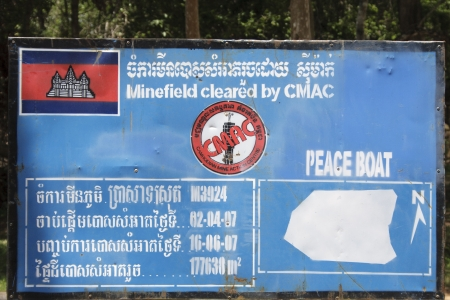 Siem Reap province, Cambodia - May 02, 2013  Demining panels used by CMAC  CMAC  Cambodian Mine Action Centre  is a humanitarian organization clearing the Remnants of Conflict for the benefit of communities worldwide  photo