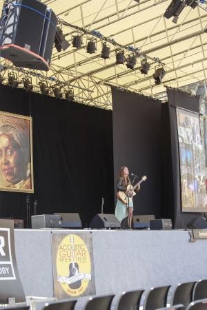 sarzana: Sarzana, Italy - May 26, 2013: Joan Thiele playing Acoustic Guitar at Sarzana guitar festival