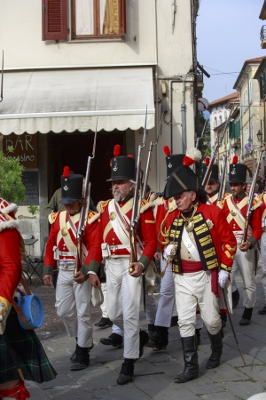 Sarzana, Italy - September 28, 2013  commemorative and historical fest of the Napoleonic Wars which is celebrated every two years in the medieval town of Sarzana, Liguria Italy  It is called Sarzana Napoleon festival Stock Photo - 24410014
