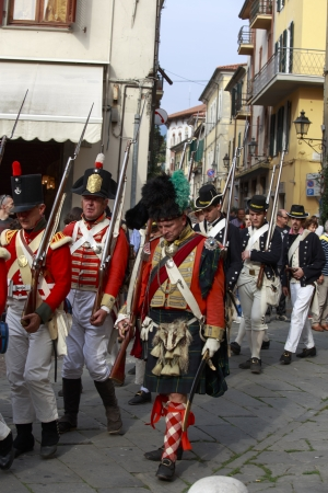 Sarzana, Italy - September 28, 2013  commemorative and historical fest of the Napoleonic Wars which is celebrated every two years in the medieval town of Sarzana, Liguria Italy  It is called Sarzana Napoleon festival Stock Photo - 24410015