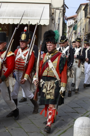 Sarzana, Italy - September 28, 2013  commemorative and historical fest of the Napoleonic Wars which is celebrated every two years in the medieval town of Sarzana, Liguria Italy  It is called Sarzana Napoleon festival Stock Photo - 24410016