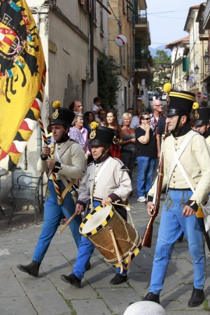 Sarzana, Italy - September 28, 2013  commemorative and historical fest of the Napoleonic Wars which is celebrated every two years in the medieval town of Sarzana, Liguria Italy  It is called Sarzana Napoleon festival Stock Photo - 24410017