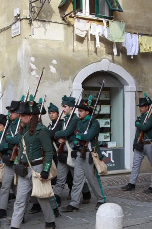 Sarzana, Italy - September 28, 2013  commemorative and historical fest of the Napoleonic Wars which is celebrated every two years in the medieval town of Sarzana, Liguria Italy  It is called Sarzana Napoleon festival Stock Photo - 24410020