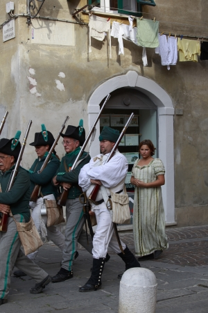 Sarzana, Italy - September 28, 2013  commemorative and historical fest of the Napoleonic Wars which is celebrated every two years in the medieval town of Sarzana, Liguria Italy  It is called Sarzana Napoleon festival Stock Photo - 24410021
