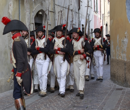 Sarzana, Italy - September 28, 2013: commemorative and historical fest of the Napoleonic Wars which is celebrated every two years in the medieval town of Sarzana, Liguria Italy. It is called Sarzana Napoleon festival Stock Photo - 24339133