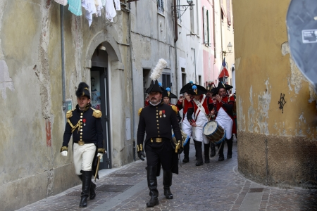 Sarzana, Italy - September 28, 2013: commemorative and historical fest of the Napoleonic Wars which is celebrated every two years in the medieval town of Sarzana, Liguria Italy. It is called Sarzana Napoleon festival Stock Photo - 24339134