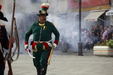 Sarzana, Italy - September 28, 2013: commemorative and historical fest of the Napoleonic Wars which is celebrated every two years in the medieval town of Sarzana, Liguria Italy. It is called Sarzana Napoleon festival  Stock Photo - 24339135