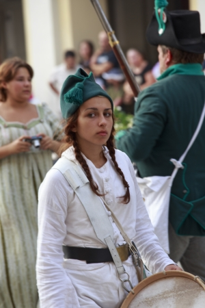 Sarzana, Italy - September 28, 2013: commemorative and historical fest of the Napoleonic Wars which is celebrated every two years in the medieval town of Sarzana, Liguria Italy. It is called Sarzana Napoleon festival Stock Photo - 24339137