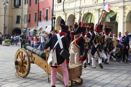 Sarzana, Italy - September 28, 2013: commemorative and historical fest of the Napoleonic Wars which is celebrated every two years in the medieval town of Sarzana, Liguria Italy. It is called Sarzana Napoleon festival Stock Photo - 24761193