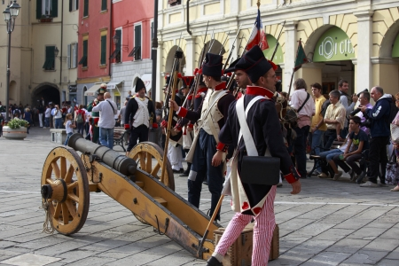 Sarzana, Italy - September 28, 2013: commemorative and historical fest of the Napoleonic Wars which is celebrated every two years in the medieval town of Sarzana, Liguria Italy. It is called Sarzana Napoleon festival Stock Photo - 24761194