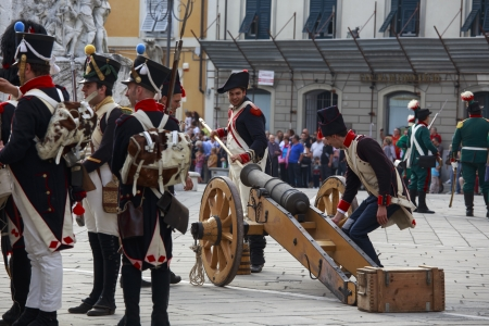 Sarzana, Italy - September 28, 2013: commemorative and historical fest of the Napoleonic Wars which is celebrated every two years in the medieval town of Sarzana, Liguria Italy. It is called Sarzana Napoleon festival Stock Photo - 24761195