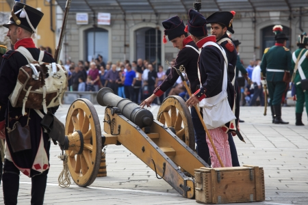 Sarzana, Italy - September 28, 2013: commemorative and historical fest of the Napoleonic Wars which is celebrated every two years in the medieval town of Sarzana, Liguria Italy. It is called Sarzana Napoleon festival Stock Photo - 24764634