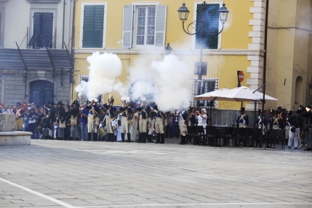 Sarzana, Italy - September 28, 2013: commemorative and historical fest of the Napoleonic Wars which is celebrated every two years in the medieval town of Sarzana, Liguria Italy. It is called Sarzana Napoleon festival Stock Photo - 24764635