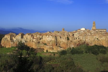 Het beroemde dorp Pitigliano in Toscane, provincie Grosseto. Stockfoto