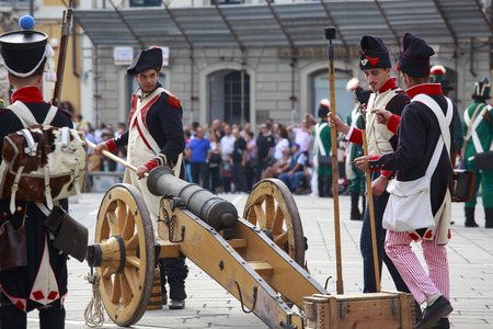 Sarzana, Italy - September 28, 2013  commemorative and historical fest of the Napoleonic Wars which is celebrated every two years in the medieval town of Sarzana, Liguria Italy  It is called Sarzana Napoleon festival