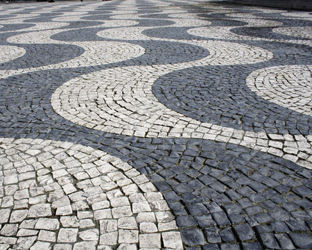 Typical drawing floor cobblestone in Lisbon, Portugal