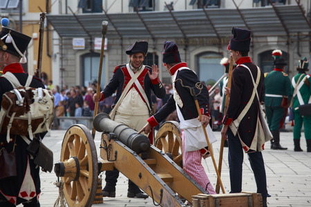 sarzana: Sarzana, Italy - September 28, 2013: commemorative and historical fest of the Napoleonic Wars which is celebrated every two years in the medieval town of Sarzana, Liguria Italy. It is called Sarzana Napoleon festival  Editorial