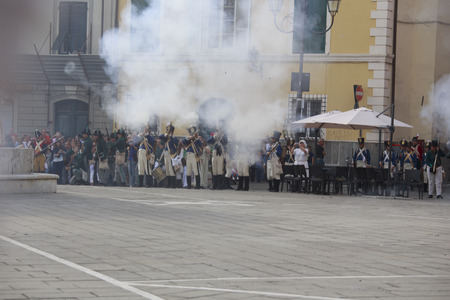 sarzana: Sarzana, Italy - September 28, 2013: commemorative and historical fest of the Napoleonic Wars which is celebrated every two years in the medieval town of Sarzana, Liguria Italy. It is called Sarzana Napoleon festival