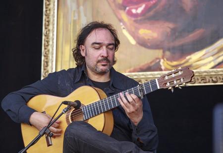 sarzana: Sarzana, Italy - May 26, 2013: Juan Lorenzo trio performing live at Sarzana guitar festival, on May 26, 2013.