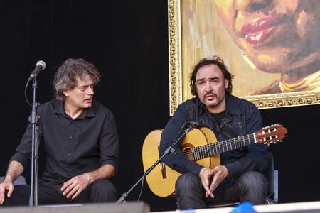 Sarzana, Italy - May 26, 2013: Juan Lorenzo trio performing live at Sarzana guitar festival, on May 26, 2013.