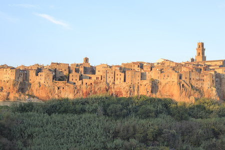 Pitigliano city on the cliff in summer, Italy photo
