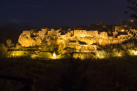 nightview: Pitigliano city on the cliff in summer, Italy, nightview