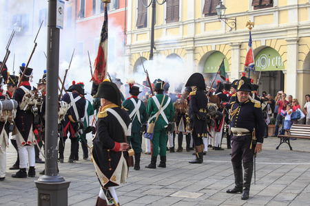 Sarzana, Italy - September 28, 2013: commemorative and historical fest of the Napoleonic Wars which is celebrated every two years in the medieval town of Sarzana, Liguria Italy. It is called Sarzana Napoleon festival