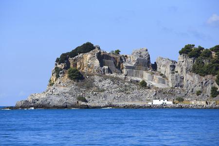 greece granite: Cave on island in Liguria, Italy. Gulf of La Spezia Stock Photo