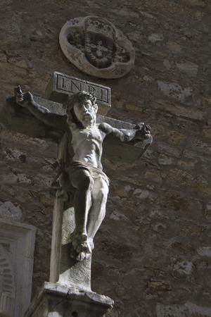 Christ in the ruined portuguese Carmo Convent, Lisbon photo