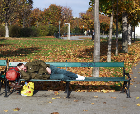 housing problems: Vienna, Austria - November 1, 2013: A homeless man sleeping in a park at mid day. Editorial