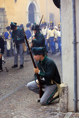 napoleon iii: Sarzana, Italy - September 28, 2013: commemorative and historical fest of the Napoleonic Wars which is celebrated every two years in the medieval town of Sarzana, Liguria Italy. It is called Sarzana Napoleon festival
