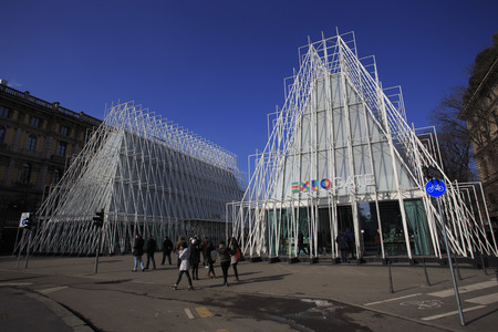 """hosted: Milan, Italy - February 8, 2015: EXPO gate in Milano 2015. The Expo 2015 is the Universal Exposition after Expo 2012, and will be hosted by Milan, Italy, starting on 1st May 2015 and ending on 31st October.  Expo Milano 2015 is around the theme """" Feedin Editorial"""
